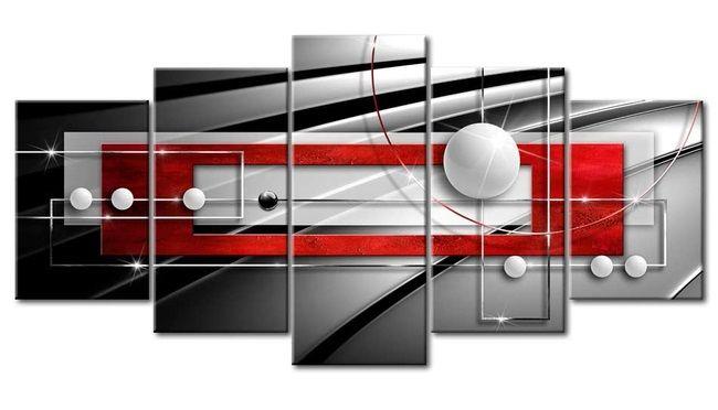 """Cuadros originales """"Simetría moderna"""" cuadro sobre lienzo, una composición de 5 piezas, decoración lista para colgar, patrón diseñado por artistas gráficos de bimago, realización por encargo"""
