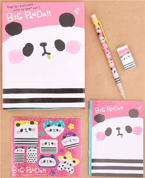 cute pink panda Q-Lia stationery set with 5 pieces 1