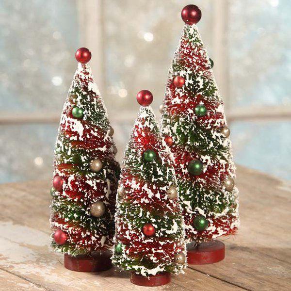 You Ll Love The 3 Piece Primitive Xmas Bottle Brush Tree Set At Perigold Enjoy White Glove De Bottle Brush Christmas Trees Christmas Towels Bottle Brush Trees
