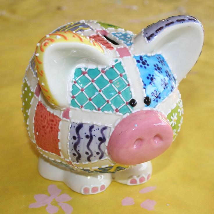 Cute pig bank - ceramic patchwork