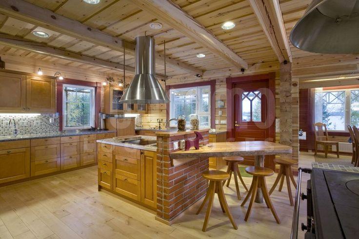 cocina casa de madera Kuusamo Log Houses modelo Terijoki