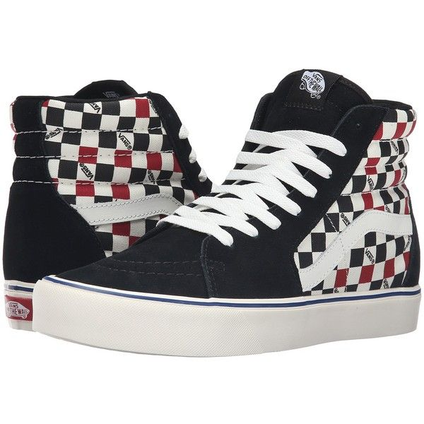 Vans Sk8-Hi Lite ((Seeing Checkers) Black/Marshmallow) Men's Skate... ($75) ❤ liked on Polyvore featuring men's fashion, men's shoes, men's sneakers, mens hi top sneakers, mens black high tops, mens platform shoes, mens high tops and mens leather high tops