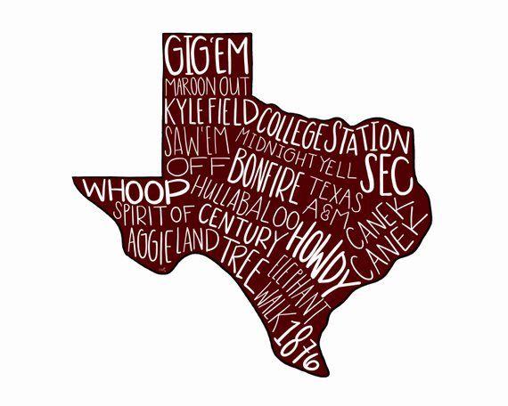 Digital Texas A M Aggies Typography Printable Wall Art Aggie Football Maroon And White Gig Em Co Aggie Football Typography Printable Texas College Football