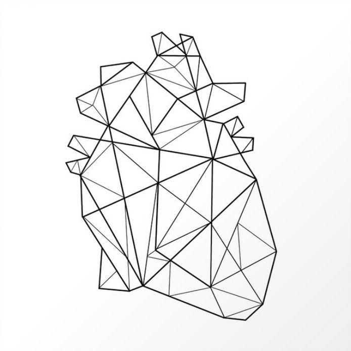 Geometric Minimalist Heart Art Print Geometric Heart Minimalist