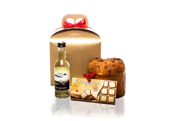CPM42 – cutie cadou  Cutie cadou corporate ieftina pentru angajati clienti si furnizori. Cadou corporate buget cu vin alb.