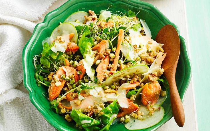 Smoked trout, sprout and apple salad recipe - By Woman's Day, This gorgeous fresh salad pairs flakey smoked trout, juicy apple and roasted walnuts to create a beautiful dish for dinner parties or a healthy lunch in no time at all.