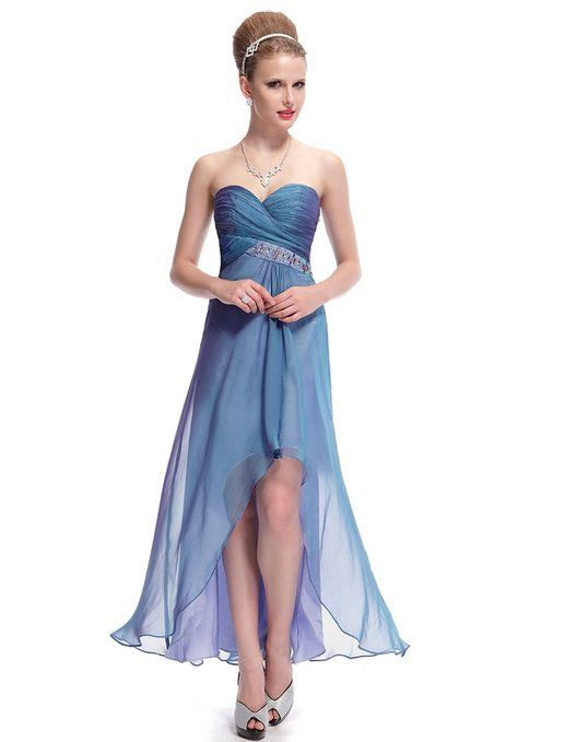 Ever Pretty Strapless Ruched Bust Rhinestone High Low Evening Dress