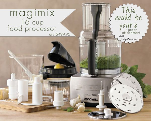 Win a gorgeous Magimix 16-cup food processor and juicer attachment at TidyMom.net: Magimix Food, Kitchen Gadgets, 16 Cup Food, Cups, Dream, Robot Coupe 16, Food Processor, Magimix 16 Cup