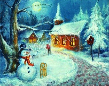 """Thomas Kahlau è originario della Germania. Ha creato l'opera """"Pupazzo di neve e slittino sul sentiero verso la Chiesa del paese"""",dipinta con l'utilizzo esclusivo della bocca. La tecnica utilizzata è quella ad acrilico: il formato originale è 40x50 cm.  https://www.abilityart.it/pupazzo-di-neve-e-slittino-sul-sentiero-verso-la-chiesa-del-paese.html"""
