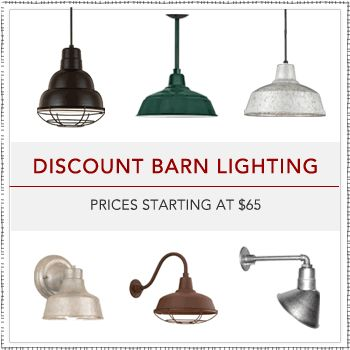 Barn Light Electric Co. has a great selection for barn lighting that works in the home, too.