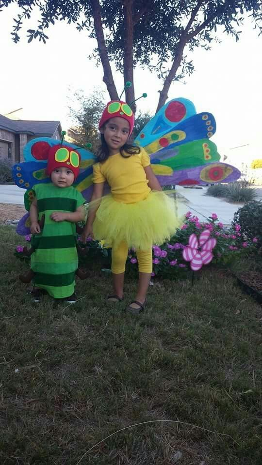 The Very Hungry Caterpillar and the Beautiful Butterfly DIY Halloween costumes