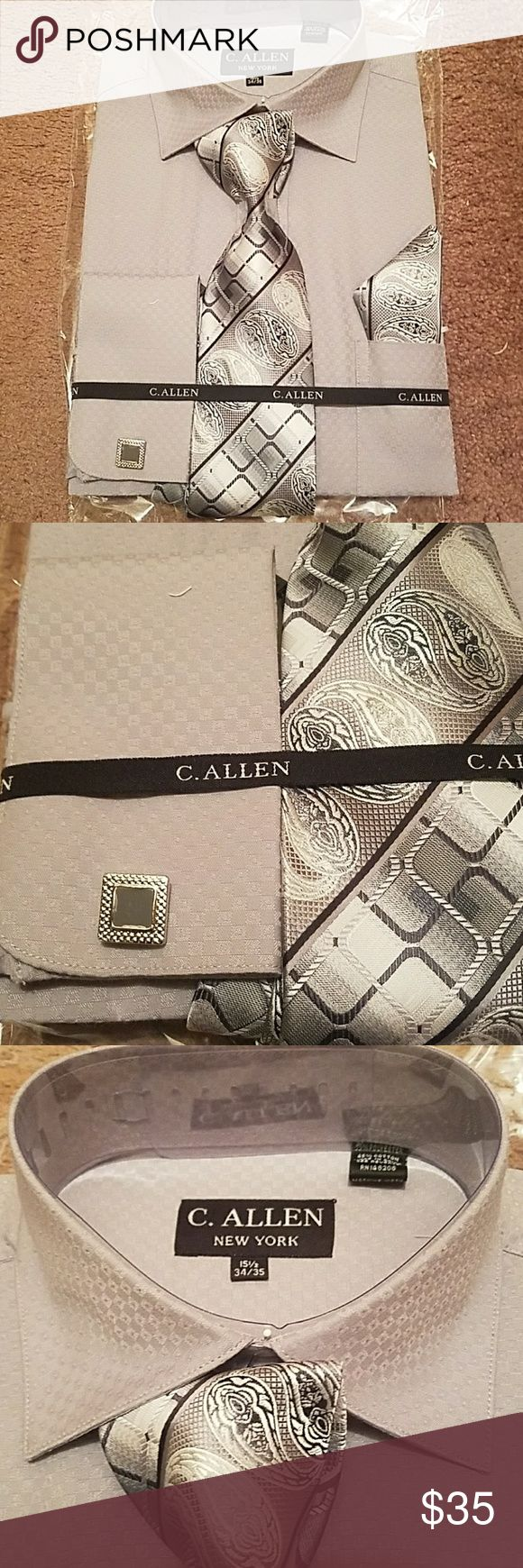 C Allen Gray Dress Shirt Set The Cufflinks Hanky M C Allen New York This is a set which comes with a tie a hankie and matching cufflinks for this dress shirt.  Size 15.5 34-35 Brand new in package C allen Shirts Dress Shirts