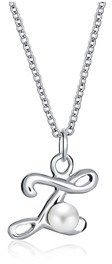 Bling Jewelry Freshwater Cultured Pearl Initial Z Pendant Sterling Silver Necklace 16 Inches.