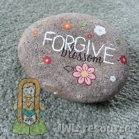 rub-on or dry transfers on stone - Craft for lesson on Stephen (Acts 7)