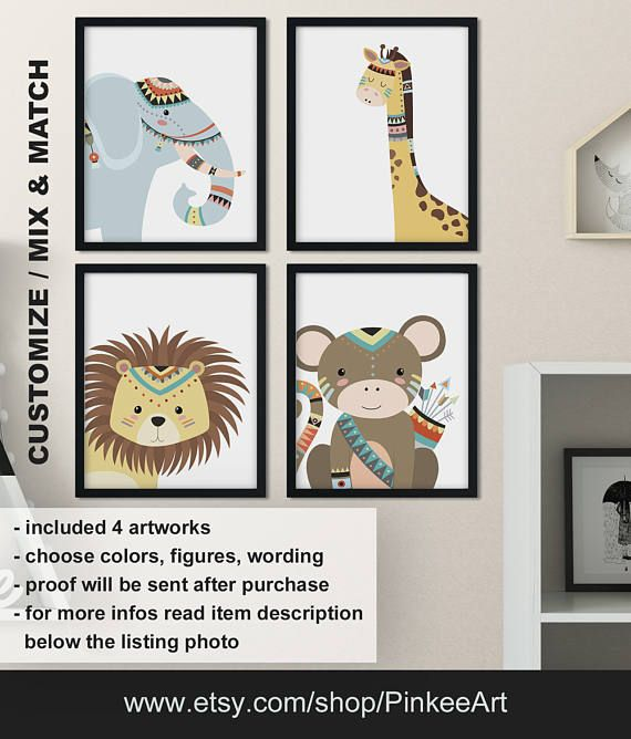 Tribal animals kids room art, Tribal elephant giraffe lion monkey nursery decor, Boho jungle animals, Safari nursery decor Print/Canvas/Digi