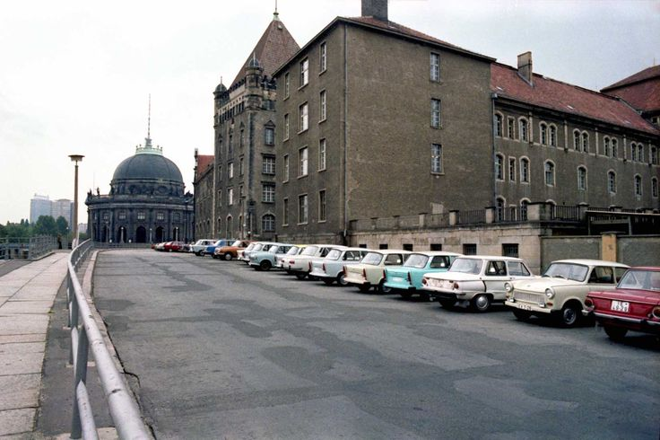 Trabant cars lined up on Kupfergraben Berlin near the Bode Museum. 1980s.