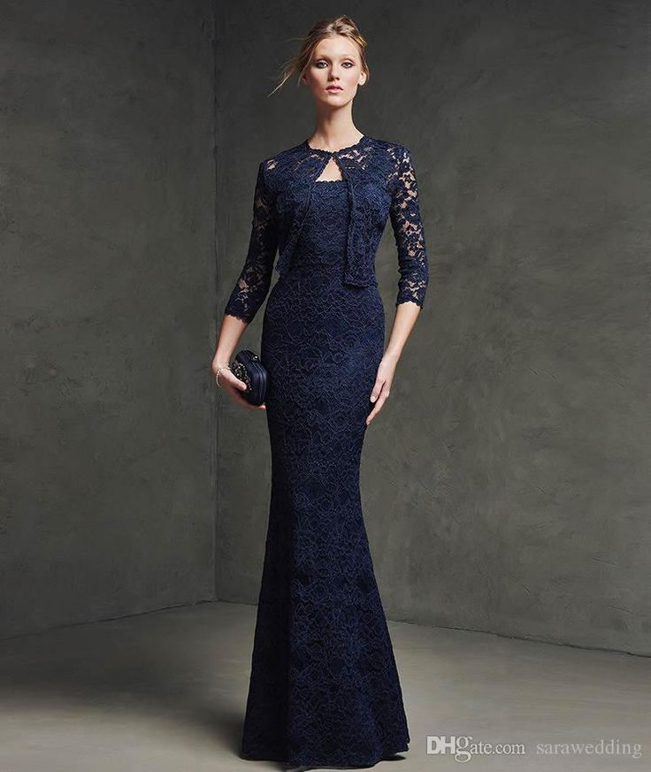Dress Pencil On Sale At Reasonable Prices Buy Midnight Blue 2017 Evening With Jacket Lace Dresses Mermaid Tank Long Formal Gowns