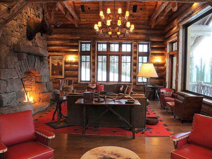 Rustic mountain lodge interior design living 800 for Rustic hotel