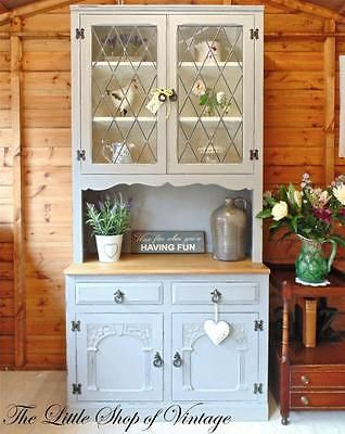 Gorgeous Old Charm Kitchen Welsh Dresser Cabinet Glazed Cupboard Shabby Chic