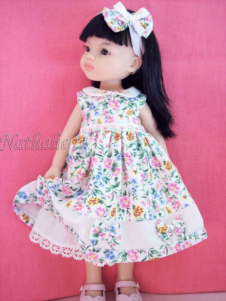 Robe fleurie avec serre-tête compatible poupée paola reina,little darling...