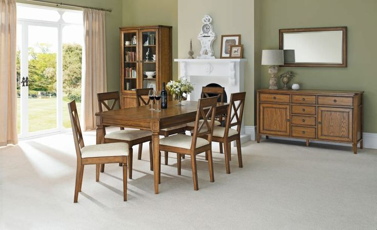 Bentley Designs Sophia Oak Dining Set - 6-8 Extending Table with X Back Chairs