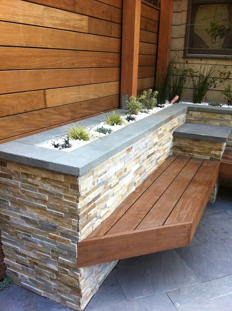 Love the colors of the stone and wood work. Something like this would be great for raised beds flanking the hardscape in the backyard. Ipe bench and quartz rock filled beds by johnclarkemills, via Flickr