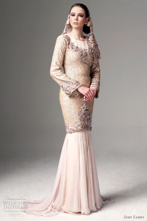 Long sleeve outfit with a style influenced by the baju kurung (traditional Malay costume).
