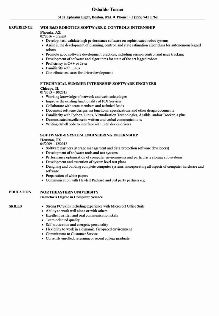Computer science internship resume new software internship