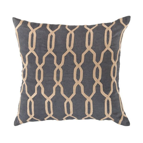 Surya 22-Inch Square Mediterranean Blue and Parchment Patterned Linen... (170 ILS) ❤ liked on Polyvore featuring home, home decor, throw pillows, pillow, quote throw pillows, square throw pillows, patterned throw pillows, textured throw pillows and contemporary throw pillows