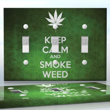 DIY Do It Yourself Home Decor - Easy to apply wall plate wraps   KEEP CALM AND SMOKE WEED  Green weed background with a white leaf  wallplate skin sticker for 3 Gang Toggle LightSwitch   On SALE now only $5.95