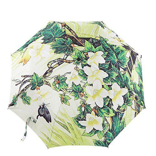 Fishon Too-Classic Folding Umbrella Green Vine Flowers Ink Painting Custom Folding Travel Umbrella Umbrella *** Check out this great image  : Umbrella Racks