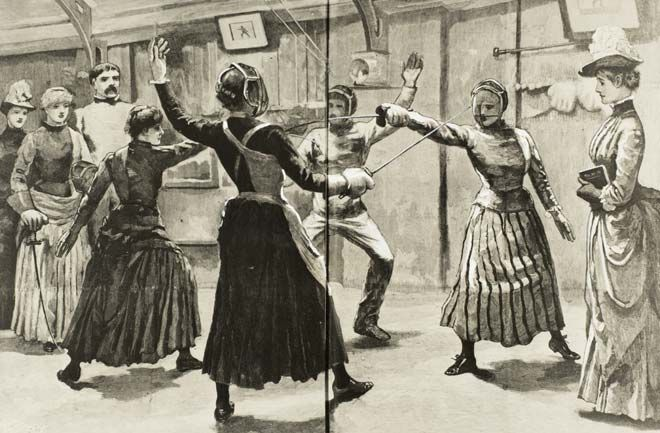 This drawing appeared in the New Zealand Graphic in 1891, although it seems unlikely that fencing classes for women were being held in New Zealand at the time. The Graphic used the picture to illustrate women's increasing interest in sport, suggesting that this had influenced women's clothing. Should women have wanted to fence, the shorter, narrower skirt shown here would certainly have helped, as would the lack of a bustle (worn by the woman on the far right).