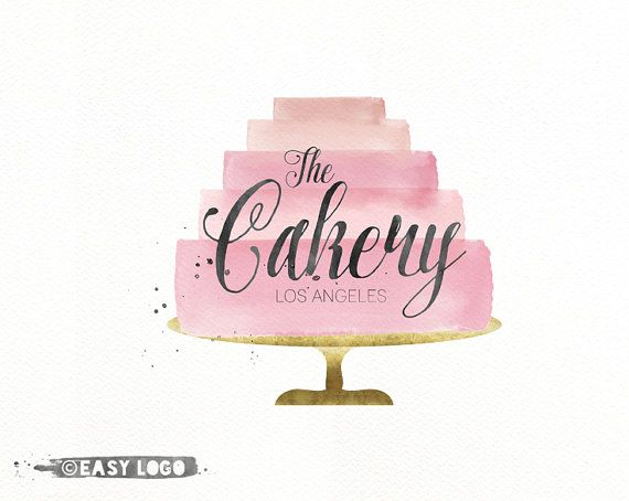 Bakery Cake Logo Design. Watercolor Logo. Custom Business Branding. Premade Watermark. Cakery Marketing. EL138.