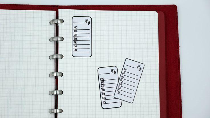 BULLET JOURNAL STICKER - planner sticker - step tracker - weekly tracker sticker - black and white - english or german - Mo-Su - Su-Sa by StickersSwissMade on Etsy