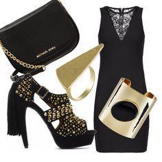 Look ideale per andare a ballare, giovane e sbarazzino. Il pezzo forte dell'outfit è il sandalo trasgressivo da abbinare a tubino e accessori neri con dettagli d'oro.