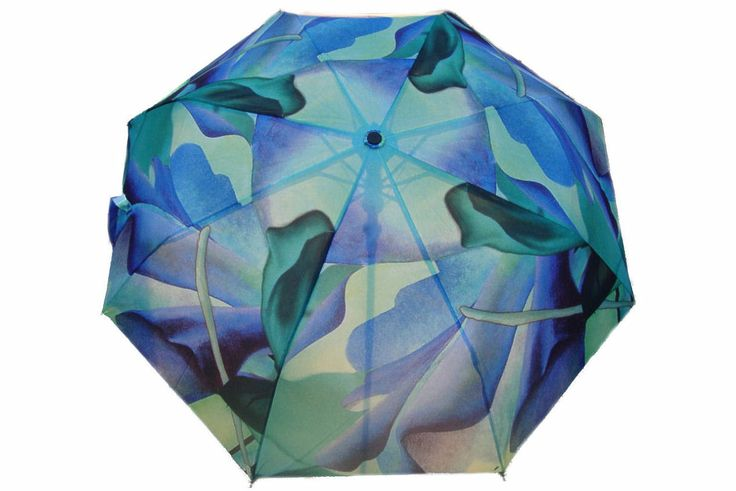 """Artbrella """"Blues"""" displays a Dutch floral oil painting. Painting title: """"Dancing Queens"""" (sold). Check out the matching Artcessories: Artbag, Silk scarf, Purse, Purse hanger."""