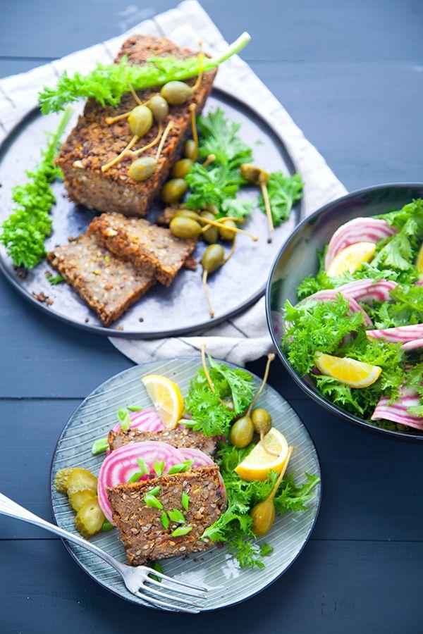 Lentil loaf, pain de viande vegan, pain de lentilles,