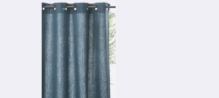 rideau lin oeillets bleu paon craie gris ardoise gris. Black Bedroom Furniture Sets. Home Design Ideas