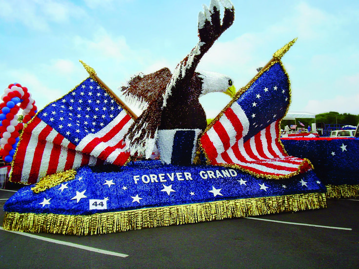 Flags & Eagle Parade Float  Create unique 4th of july patriotic parade floats like this one with the best parade float supplies online.
