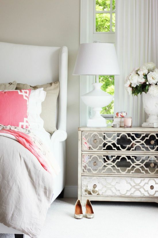 Caitlin Wilson Coral Deco Pillow| Perfect master bedroom from Jillian Harris