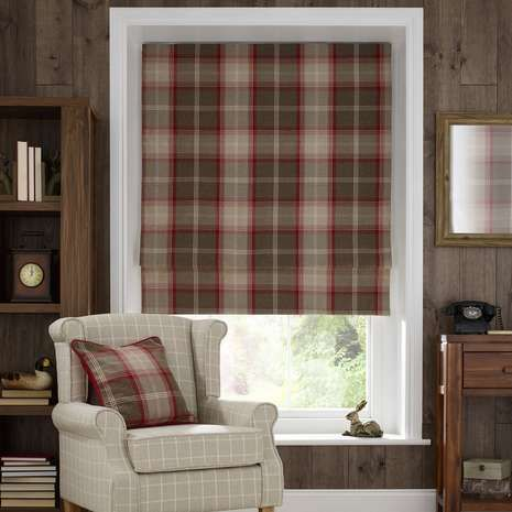 Red Highland Check Blackout Roman Blind Window Coverings