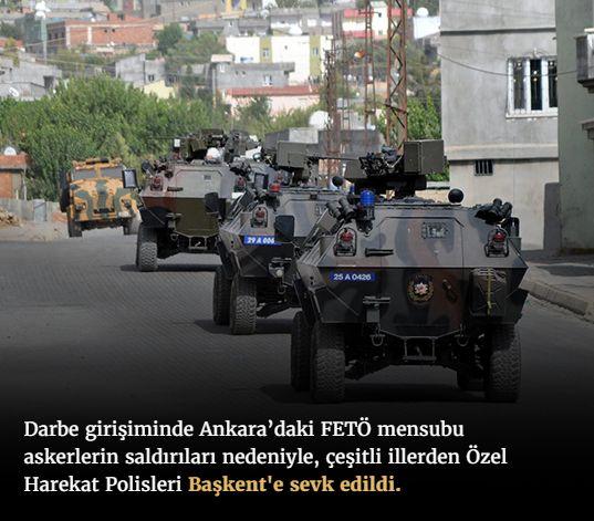 #15Temmuz Saat: 09:19 (Cumartesi)  Darbe girişiminde Ankara'daki FETÖ mensubu askerlerin saldırıları nedeniyle, çeşitli illerden Özel Harekat Polisleri Başkent'e sevk edildi.