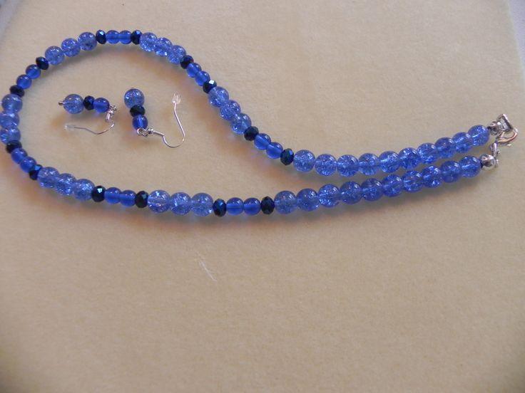 collar azul, aretes azules, collar para mujer, collar para jovenes, collar de PekitasCreations en Etsy