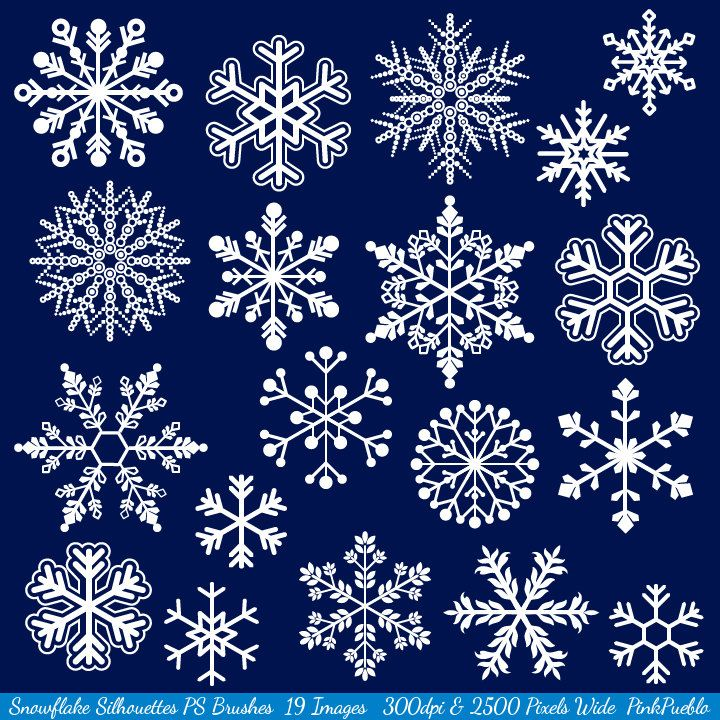 Snowflake Photoshop Brushes Snowflake Silhouettes by PinkPueblo