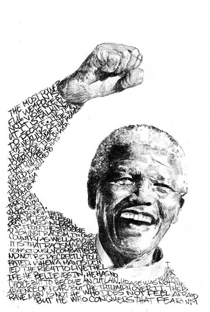 Nelson_Mandela_Portrait by Ashish Patel.  Every student has done a portrait made out of words in last few years.