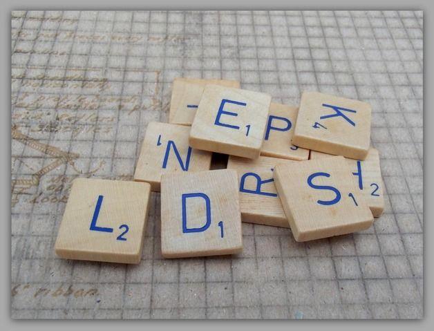 Koelkastmagneten - Scrabble magneten. hout / set van 4 - Een uniek product van HetHuisvanMakers op DaWanda