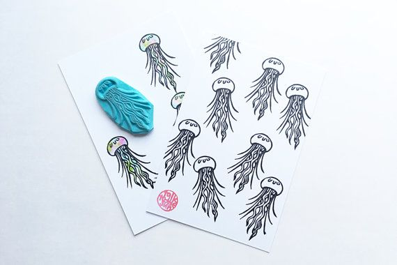 jellyfish rubber stamp. jelly fish hand carved rubber stamp. sea creature stamp. marine life stamp. ocean stamp. summer holiday crafts