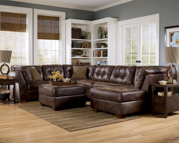 Ashley faux leather sectional sectionals sofa sets for Sectional sofa set up