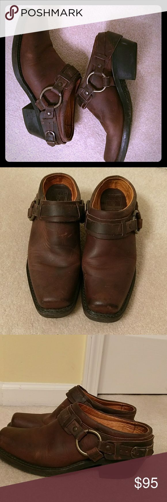 Frye Belted Harness Mule Clog Frye leather belted mule clog. Motorcycle mule style. They have been much loved, with minor scuff marks which add to the charm of Frye. In excellent pre-used condition. Fit true to size. No trades. Frye Shoes Mules & Clogs