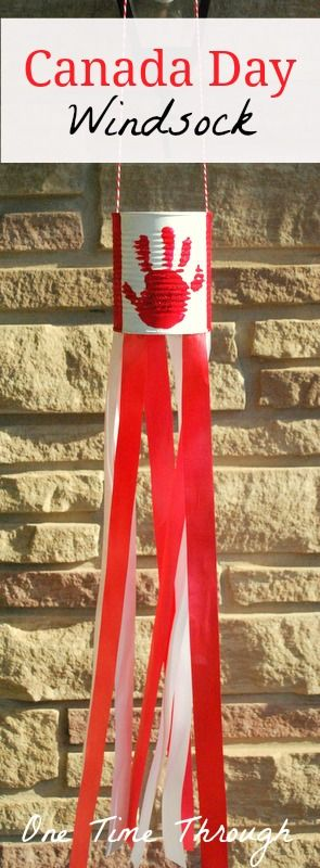 Canada Day Windsock looks awesome blowing in the wind on the front porch! {One Time Through} #kidscrafts #CanadaDay